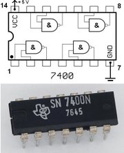 The 7400 chip, containing four NAND's. The two additional contacts supply power (+5 V) and connect the ground.